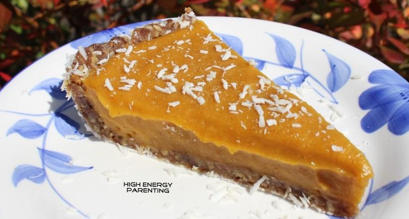 hep-food-pumpkin-pie-with-nice-cream-mango-pumpkin-date-vanilla-cinnamon-filling-pecan-date-coconut-crust-side-view-red-bg-with-logo
